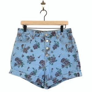3/35 BDG Super High Rise Floral Foxy Denim Shorts
